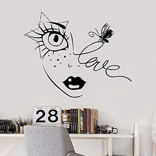 Cara de niña tatuajes de pared amor estrella abeja pegatinas de vinilo labios pestañas salón de belleza niñas dormitorio maquillaje decoración de interiores