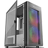 MOROVOL Mesh Micro ATX Tower Computer Case, 2PCS × ARGB Fans Preinstalled and 2×USB 3.0 Ports, Magnetic Design Opening Tempered Glass Panel & Mesh Front Panel Gaming PC Case(TW7-S2-BL