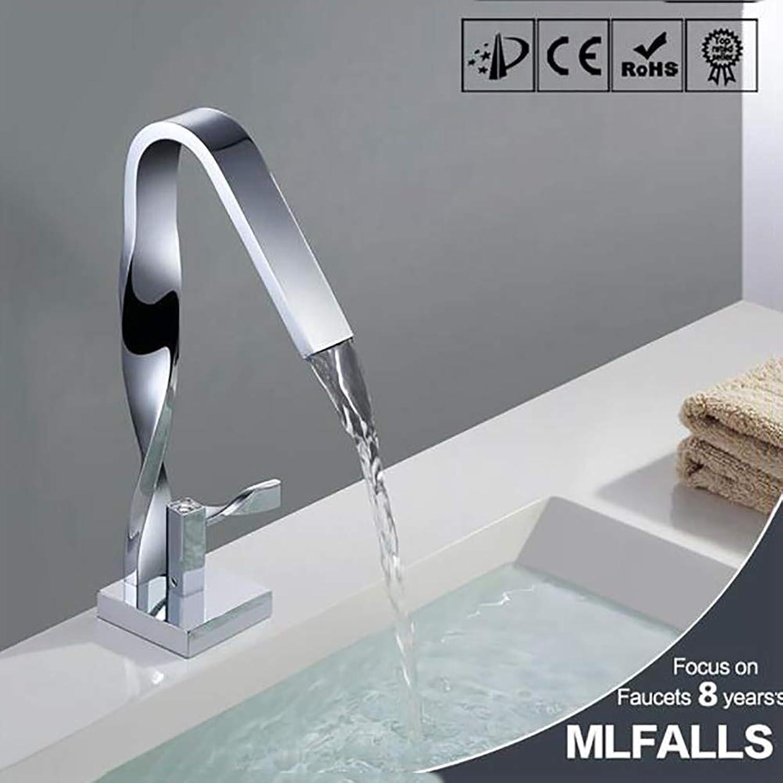 WHZWH Waschbecken Wasserhahn einzigen Handgriff, Hot and Cold Bad Wasserhahn aus reinem Kupfer, Chrom Geeignet für Badezimmer, Hotel