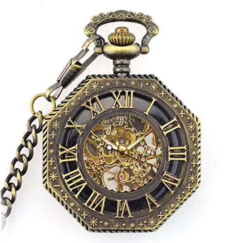 NOBRAND Pocket Horloge, Retro Steampunk Zeshoekige Romeinse Nummer Zakhorloge met FOB Ketting Vintage Fob Horloge Mechanische Hand-winding Goud Pocket Horloge