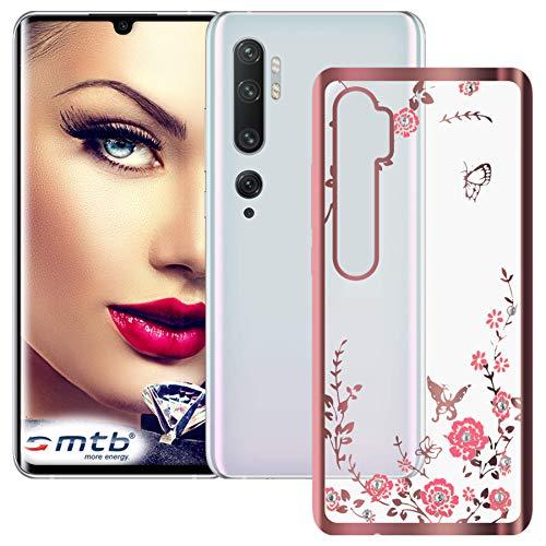 Preisvergleich Produktbild mtb more energy® Schutz-Hülle Bloomy für Xiaomi Mi Note 10 (M1910F4G),  Mi Note 10 Pro (6.47'') - Rose Gold - TPU Case Cover Tasche