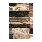 SUPERIOR Modern Rockwood Collection Area Rug, Modern Area Rug, 8 mm Pile, Geometric Design with Jute Backing, Chocolate, 2' x 3'