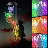Cytxswardwell Angel Wind Chime Solar Wind Chimes Lights Black Lid Outdoor Gardening Gifts for Mom Unique Birthday Gifts for Women Mother Gifts for Girlfriend Valentine Gifts for Wife