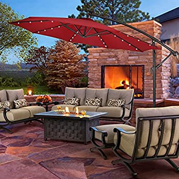 SUNBRANO 10Ft Solar Outdoor Offset Cantilever Patio Umbrella Market Crank Hanging Umbrella with 32 LED Lights 8 Ribs Red
