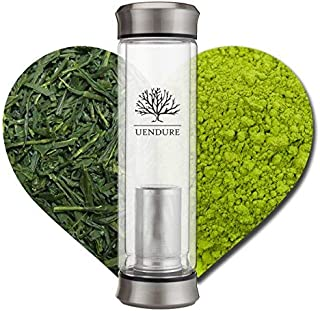 UEndure Glass Tea Infuser Bottle + Strainer | 14oz Tea Tumbler for Loose Leaf, Herbal, Green or Ice Tea. Eco-Friendly Cold Brew Coffee Mug + Fruit Infusions. Leak-Proof Washers & Free Travel Sleeve!