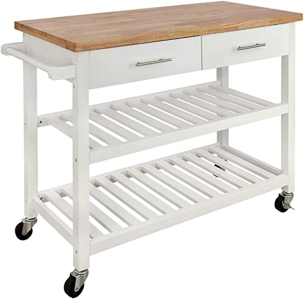 Homegear Open Storage V3 Kitchen Cart With Shelves Island On Wheels White