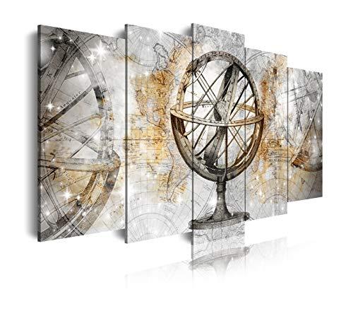 DekoArte 452 - Cuadros Modernos Impresión de Imagen Artística Digitalizada | Lienzo Decorativo para Salón o Dormitorio | Estilo Mapamundi Mapa del Mundo con Bola del Mundo Dorados | 5 Piezas 150x80cm