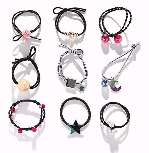 AARainbow 9Pcs Korean Elastic Hairbands,Hair Accessories for Women,Coil Hair Ties,Cute Ties Rope,Spiral Hair Ties,Ponytail Holders for Teen Girls,Young Lady (C-Black)