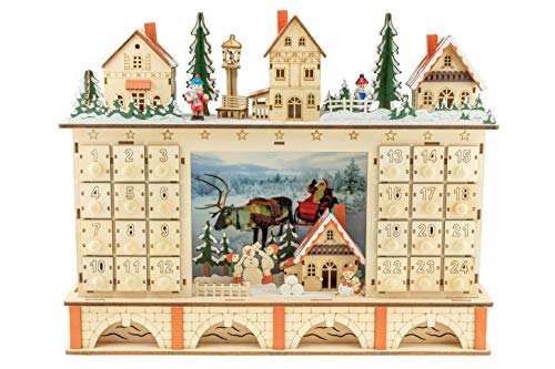 Clever Creations - Traditioneller Adventskalender aus Holz mit LED-Beleuchtung - festliches Weihnachtsdorf-Design mit 24 Schubladen - batteriebetrieben - 02 - Dorf auf Brücke