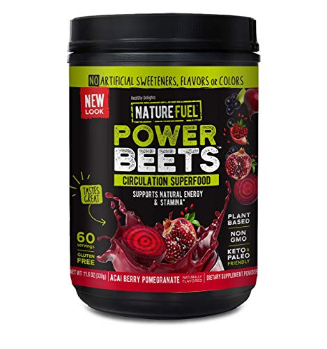 Nature Fuel Power Beets Super Concentrated Circulation Superfood Dietary Supplement – Delicious Acai Berry Pomegranate Flavor – Non-GMO Beet Root Powder, 60 Servings
