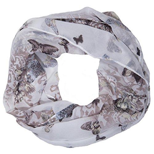 MANUMAR Loop-Schal für Damen | Hals-Tuch in Grau Beige mit Schmetterling Motiv als perfektes Herbst Winter Accessoire | Schlauchschal | Damen-Schal | Rundschal | Geschenkidee für Frauen und Mädchen