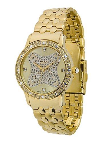 Moog Paris Gem Sparks Damen Uhr mit Champagner Zifferblatt, Swarovski Elements & Goldenem Armband aus Edelstahl - M45034-004