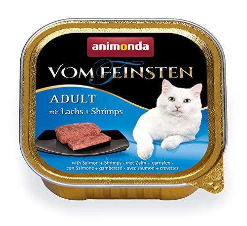 Animonda Fijnste kattenvoer, voor volwassenen katten, verschillende soorten en maten, zalm + krimps, 32 x 100 g