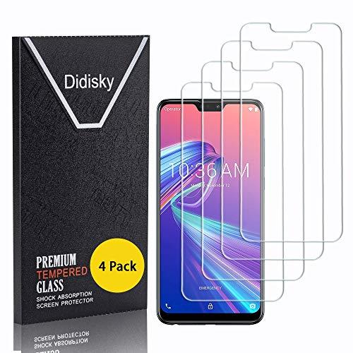 Didisky Cristal Templado Protector de Pantalla para ASUS Zenfone MAX Pro M2 ZB631KL, [Toque Suave] Fácil de Limpiar,9H Dureza,Fácil de Instalar, [4-Unidades]