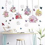 Tatuaje de pared, flores de colores Jaula de pájaros Mariposa Habitaciones para niños Muraux Decoración Mural Living Sticker Decal Diy Oficina de regalo para papel tapiz Pegatinas Imágenes de arte