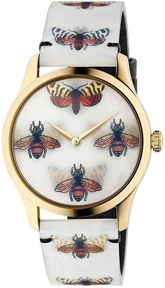 Gucci, orologio da donna con cassa in acciaio inossidabile e oro giallo,vetro zaffiro e cinturino in pelle YA1264109