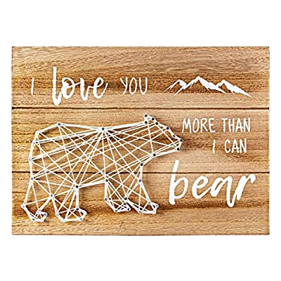 VILIGHT Woodland Bear Nursery Wall Decor for Baby Boys and Girls - New Mom Gifts Rustic Sign for Mommy and Kids - I Love You More Than I Can Bear - String Art 12x8.6 Inches