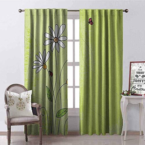 Wild One Curtain Gänseblümchen-Vorhänge, isoliert, handgezeichneter Stil, Kamille, Blumen auf grünem Hintergrund mit Marienkäfern und Grunge-Look, schalldämpfender Schatten