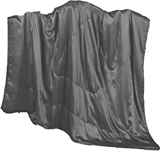Cozysilk Silk Throw, Children Blanket/Portable Travel Mini Blanket Sofa/Couch Throw Filling with 100% Top Grade Mulberry Silk- Ultra Soft, Hypoallergenic, Breathable (42x59 inch, Dark Grey)