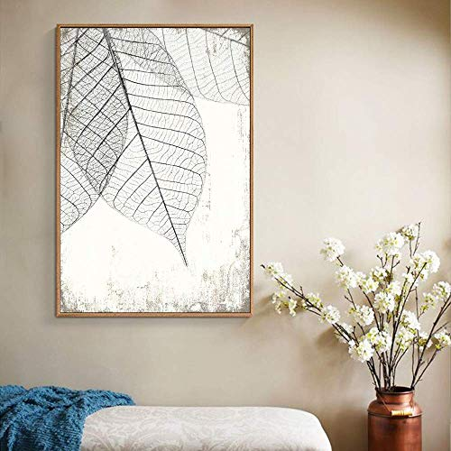 wall26 Framed Canvas Wall Art for Living Room, Bedroom Translucent Leaves III Canvas Prints for Home Decoration Ready to Hang - 24x36 inches