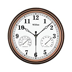 WiHoo 15 Inch Silent Outdoor Clocks with Thermometer and Hygrometer Battery Operated Metal Clock,Wall Decorative for Patio, Garden,Porch,Pool,Office and Home( Bronze )
