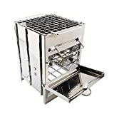 xiangpian183 Estufa de Camping Estufa de leña - Mini Estufa portátil de leña Estufa de Acero Inoxidable Liviana para cocinar para Caminatas al Aire Libre Picnic BBQ con Bolsa de Almacenamiento