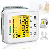 Topffy Blood Pressure Monitor,Wrist Digital BP Cuff 99 * 2 Reading Memory Automatic BP Machine Large Tri-Backlit Rechargeable Pulse Rate Monitoring Meter Wrist Blood Pressure Monitor for Home Use