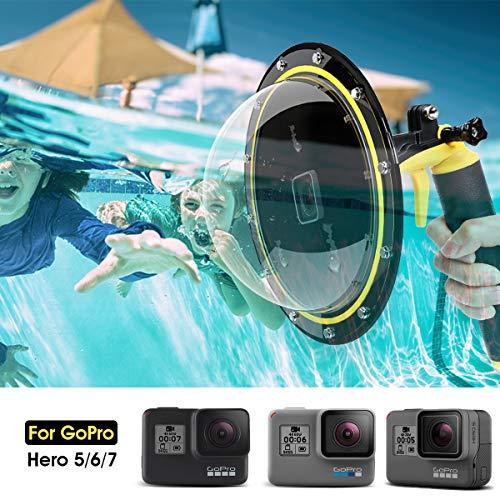 AuyKoo Puerto de Domo para GoPro Hero 7/6/5 Black/2018, Alojamiento Impermeable Buceo Cubierta de Lentes para GoPro, GoPro Burbuja Agarre Flotante Subacuática Carcasa Accesorios