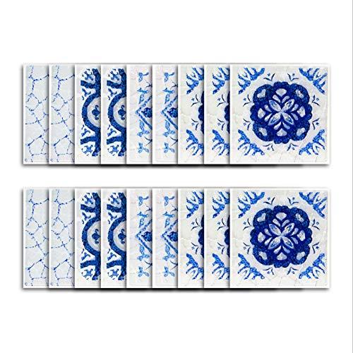 Etiqueta engomada del azulejo de vinilo/etiqueta engomada del azulejo de simulación de porcelana azul y blanca etiqueta de la pared del baño autoadhesiva impermeable
