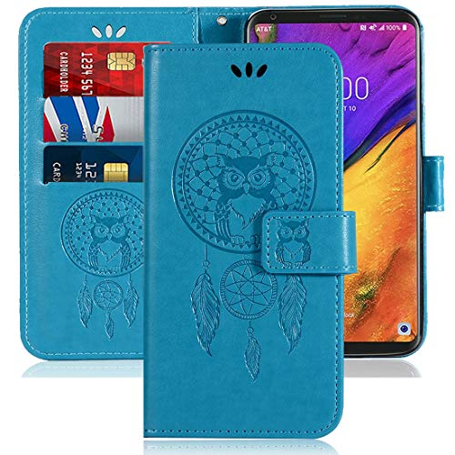 Sidande for LG V30 Case, LG V30s,LG V30 Plus,LG V35,LG V35 ThinQ Wallet Case with Card Holder, [Wrist Strap] Premium PU Leather Flip Phone Case Cover for LG V30 (Blue)