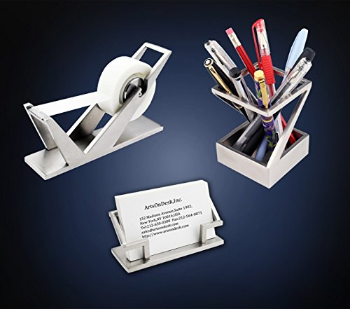 ArtsOnDesk Modern Art Desk Accessory 3-pc Set St2 Stainless Steel Satin Finish Patented Desktop Organizer Luxury Novelty Collectible Home Office Decor Holiday Christmas Business Gift