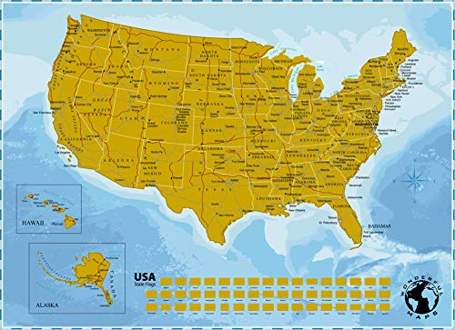 Scratch Off Map of The United States of America with State Flags on Blue Background, 17 x 24 inch. US Scratch Off Travel Map Poster Wall Map.USA Scratch Map Travel Gift for Travelers Honeymoon Gifts