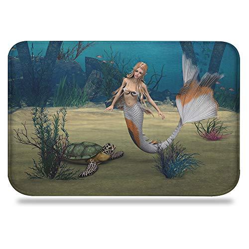 Colorful Star Bathroom Rugs Non Slip Washable Flannel Bath Mats for Bathroom Soft Cozy Toilet Floor Carpet 24' L x 16' W - Mermaid & Sea Turtle