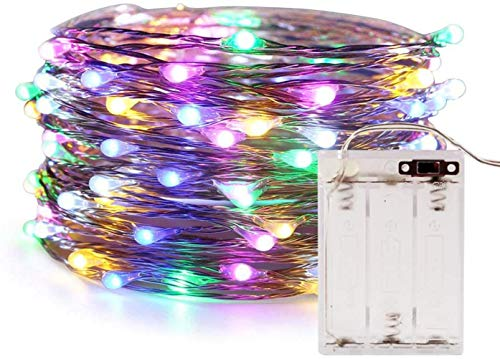 Cadena de luces LED, 10M 100 luces LED de hadas, con pilas, lámpara de alambre de cobre impermeable, para interior, exterior, fiesta, jardín, decoración