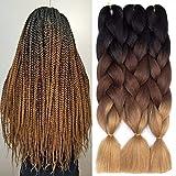 Ombre Kanekalon Braiding Hair 3 Pack Ombre Jumbo Braiding Hair Extensions 24 Inch Jumbo Braid Synthetic Hair for Braiding (3 pack, Black-Dark Brown-Light Brown)