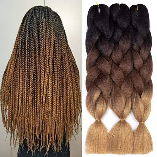 Ombre Kanekalon Braiding Hair 5 Pack Ombre Jumbo Braiding Hair Extensions 24 Inch Jumbo Braid Synthetic Hair for Braiding (3 pack, Black-Dark Brown-Light Brown)