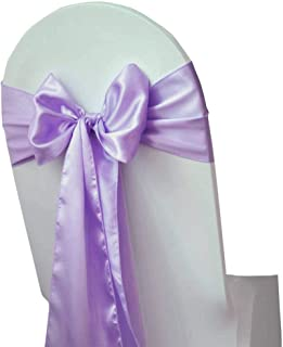 mds Pack of 10 Satin Chair Sashes Bow sash for Wedding and Events Supplies Party Decoration Chair Cover sash -Lavender