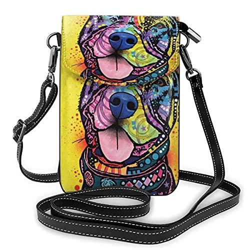 SCIWKAL Bolso de Teléfono Móvil para Mujer Bolso cruzado para teléfono celular Pit Bull Splas para mujer de piel sintética multicolor con correa ajustable Multifunción