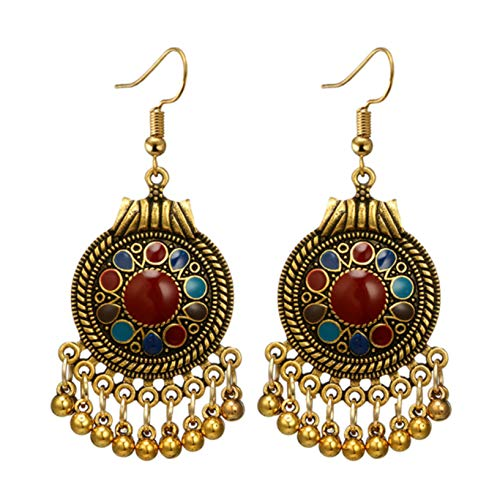 Kissherely Ethnic Boho Round Pendant Earrings Small Bell Oil Drop Pattern Printed Dangle Drop Retro Earrings for Women Girls,Gold Colorful