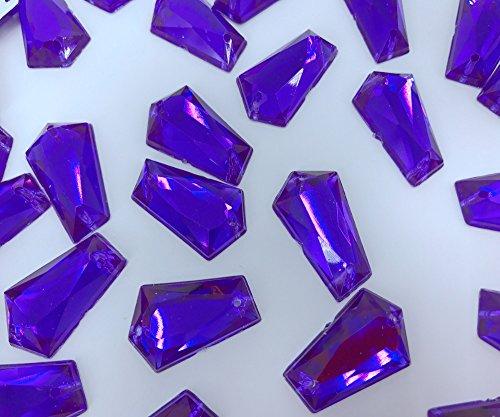 14 x 23 mm coudre en violet en acrylique en forme de Alien Strass Plat Strass cousues à la main Pierre 100 pcs/sac