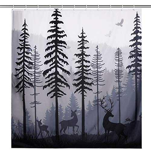 Forest Shower Curtain with 12 Hooks, Waterproof Polyester Bathroom Shower Curtain Deer in The Forest Shower Curtain Cabin Silhouette of Pine Forest Family Deer and Birds (72 x 84 Inch)
