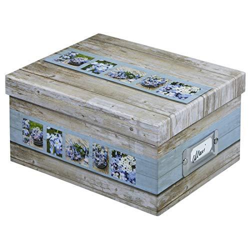 """Hama 2171 Fotobox Modell """"Rustico"""", Weiß/Blau, 17x22x11cm, für 700Fotos mit einem Format von 10x15cm"""