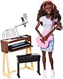 Barbie Métiers poupée Musicienne brune avec haut gris et guitare rose, jouet pour enfant, FCP74