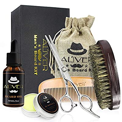 ALIVER Beard Grooming & Trimming Kit for Men Beard Care Gift Set | Beard Oil | Mustache Beard Balm Wax | Beard Brush | Beard Comb | Barber Scissors with Gift Box