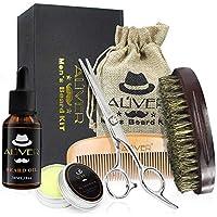 ALIVER Kit de cuidado de la barba para hombres Set para el cuidado de la barba con aceite para barba, cera de bálsamo para barba bigote, brocha para barba, peine para barba.