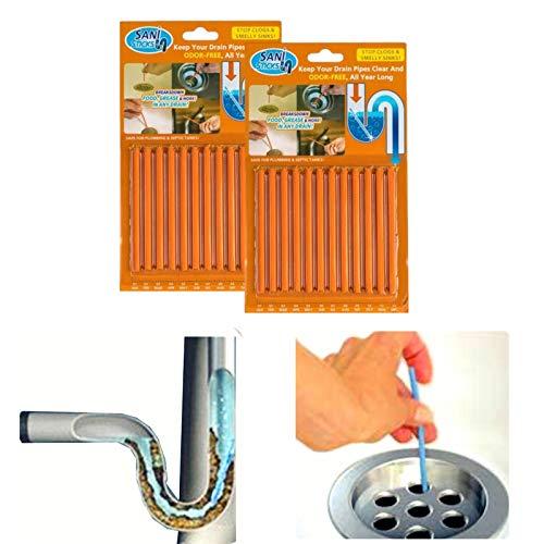 Drain Cleaner and Deodorizer Sticks Flexible Non-Fragile for Clogs Kitchen Bathroom Sinks Unclog Eliminate Odor Septic Tank (24pack Orange)