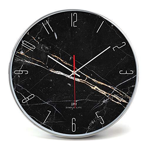 Everyday home Minimaliste nordique marbré silencieux chiffre romain horloge murale salon ornements de mode (Couleur : Silver, taille : 40cm)