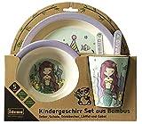 Idena 40122 - Set di stoviglie per bambini in bambù, con grazioso motivo a sirena, 5 pezzi composto da piatto, ciotola, bicchiere, cucchiaio e forchetta