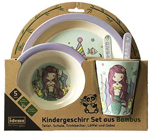 Idena 40122 - Vajilla infantil (bambú, 5 piezas, incluye plato, cuenco, vaso,...