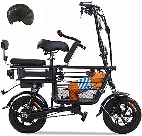 Ebikes, bicicleta eléctrica para padres-hijo con batería de litio de 48V 8A E-bicicletas e-bicicletas con asiento para bebés y canasta de almacenamiento grande Scooter eléctrico con doble amortiguador
